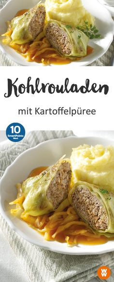 Kohlrouladen mit Kartoffelpüree Tasty cabbage rolls with mashed potatoes for 10 SmartPoints per person, main course Weight Watchers Casserole, Plats Weight Watchers, Weight Watchers Meals, Potato Recipes, Beef Recipes, Healthy Recipes, Healthy Cooking, Healthy Eating, Cabbage Rolls