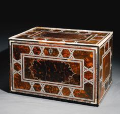 An Indo-Portuguese mother-of-pearl, tortoiseshell, and ivory-inlaid table cabinet, India, 17th century
