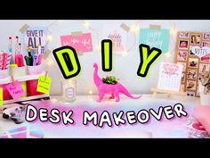 DIY Desk Decor & Organization | Desk Makeover 2017! Make Your Desk Cute & Tumblr! - YouTuber : DIYlove // Videos , Youtube , DIY