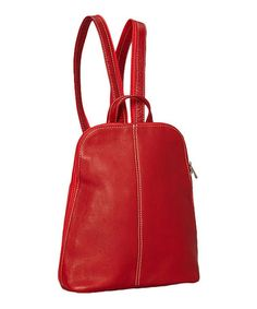This Red U-Zip Sling Leather Backpack is perfect! #zulilyfinds  $59.99