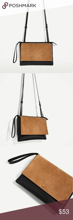 "Zara Classic Leather Crossbody Bag Black leather crossobdy bag with contrasting tan suede.  Metallic detail on the flap. Shoulder strap. Lined interior with pocket. Zip fastening.   Measures 7.8 X 10.6"" Brand new with tags. Zara Bags Crossbody Bags"