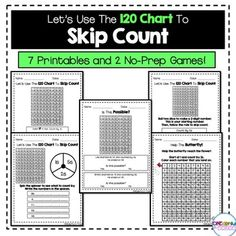 This product includes 9 worksheets and 2 no-prep games all related to skip counting with the 120 chart. Perfect for small-group, independent work, and math centers! Creative Teaching, Teaching Math, Teaching Ideas, Teaching Materials, Kindergarten Math, First Grade Math, Second Grade, Grade 2, Learning Resources