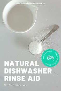 A Natural DIY Dishwasher rinse aid recipe that couldn't get any easier or quicker to make!  This homemade non-toxic rinse aid uses just citric acid and water.  Zero waste and inexpensive.  PIN ME!   #zerowaste #diycleaning #diyrecipes #diydishwasher #cleanliving #sustainableliving Dishwasher Tablets, Dishwasher Detergent, Natural Cleaning Recipes, Natural Cleaning Products, Clean Living, Citric Acid, Cleaning Hacks, Make It Simple, Zero Waste