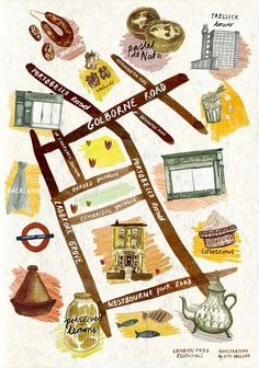 I am working with London Food Essentials to produce a series of illustrated food maps that will highlight Food & Drink hotspots around the city.I loved working on this map. I have been daydreaming about custard tarts ever since. Walking Map, Walking Tour, Opening A Cafe, Food Map, Map Design, Graphic Design, London Food, City Maps, Travel Maps