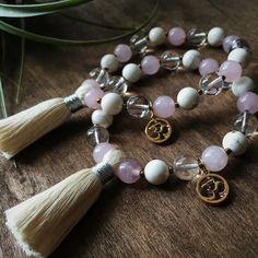 Pink and White Mala Bracelet