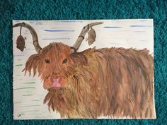 Watercolour Highland Cow and Mice entitled - Hey you cheeky mice get down from my horns.