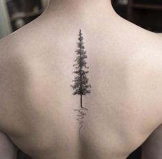 Beautiful Nature Pine Evergreen Tree Spine Tattoo Ideas for Women at MyBodiArt.com