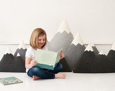 the Peaks ORIGINAL Wool Mountain Pillow Made To von ThreeBadSeeds