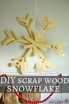 Such an easy Winter or Christmas decor idea! These DIY wood scrap snowflakes are created with just a few simple steps, full tutorial shared. They make a great statement, give off a whimsical feel to the home for the holidays. Love the low cost idea of using scrap wood!