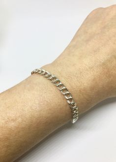 "Vintage Sterling Silver Double Curb Chain Link Charm Starter Italian Bracelet 8"" Valentine's Day Gift Unisex by AdornedInHistory on Etsy"