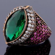 Multi Gems Ruby Emerald Topaz Sterling Silver Turkish Ring Size 6 Jewelry