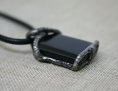 men pendant black pendant onyx necklace men by Blacksmithworkshop