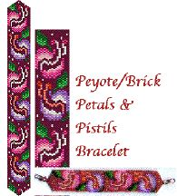 Petals & Pistils Bracelet Pattern. 12 carefully-chosen Delica colors give this unique floral bracelet a charm of all its own! Full-color, flat-mode Beadscape pattern, Delica # chart, realistic Beadscape thumbnail image and finished bracelet thumbnail image along with instructions for completion and creating a bracelet with a centered design are included.