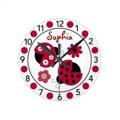 Trendy Red Ladybug Personalized Nursery Wall Clock