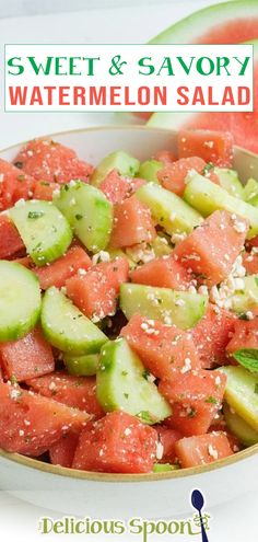 Summer just got a little sweeter with this Sweet & Savory Watermelon Salad Recipe. A light refreshing salad that goes perfect with burgers, chicken, kabobs, and pork. Sometimes at barbecues when I get together with friends and family I overdo it. There is always so much food and I want to taste it all! Feel me on this? So having a nice light salad like this Watermelon Cucumber and Mint salad is just what I need to go with a juicy hamburger.   @thedeliciousspoon #easysummersalad #bbqsidedish