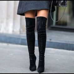 Shop Women's Steve Madden Black size 8 Over the Knee Boots at a discounted price at Poshmark. Description: Excellent condition, never worn black OTK boots. Ankle Boots, Thigh High Boots, Over The Knee Boots, Bota Over, Wrap Heels, How To Stretch Boots, Black Suede Boots, Wearing Black