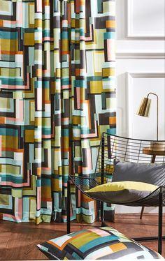 Prestigious Textiles, Modern Muse, Blue Colour Palette, Geometric Shapes, Cushions, Colours, Curtains, Wallpaper, Bed