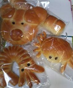 """Animal bread in cute shapes! Six Ping Bakery """"so adorable!! 
