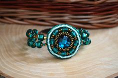 Emerald Bead Embroidery Bracelet Green Seed by TaitallasHandmade