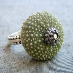 Sea Urchin Collection-Sterling Silver Green Ring