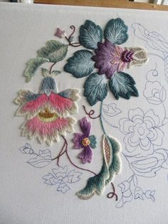 Embroidery Machine Cover but Crewel Work Books from Crewel Embroidery Stitches Kashmir the Embroidery Designs For Machines provided Embroidery Supplies Miami Bordado Jacobean, Crewel Embroidery Kits, Embroidery Supplies, Embroidery Needles, Silk Ribbon Embroidery, Hand Embroidery Designs, Embroidery Ideas, Modern Embroidery, Machine Embroidery