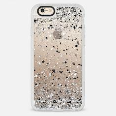 Silver Black White Confetti Explosion - Classic Grip Case
