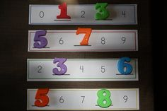Missing number strips and magnet numbers for math station