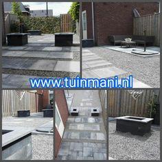 In deze tuin is er gekozen voor 60x60cm beton gecombineerd met wildverband tegels. In de kleur grijs/zwart. Samen met het grind en de muurblokken met vijverranden maakt het allemaal een mooie combinatie!  Bij Tuinmani hebben we alle soorten bestrating, zoals vlonders , composiet , keramisch , gebakken en natuursteen . Geplaatst door en verkrijgbaar bij #tuinmani @Tuinmani www.tuinmani.nl Sierbestrating