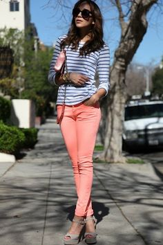 34 Biggest fashion trends of 2013 - In particular, I like this look. Stripes & bright skinnies.
