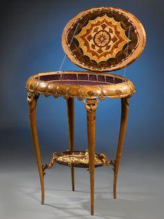 Antique Table; Art Nouveau; Carved Worktable; Circa 1905 ~ M.S. Rau Antiques