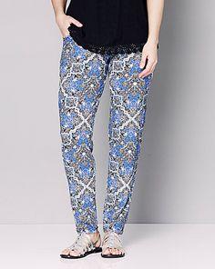 Print Stretch Jersey Harem Trouser - Reg | Simply Be