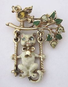 Vintage-Enamel-Rhinestone-Cat-on-a-Swing-Brooch-Coro