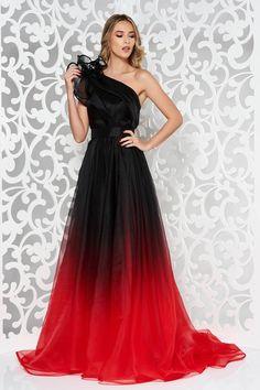 Piros Ana Radu ruha hosszú harang belső béléssel övvel ellátva egy vállas 5e20c12fe8