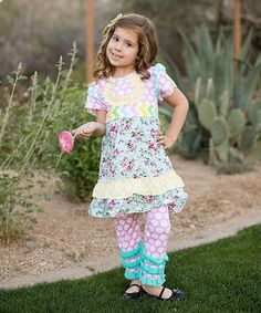 This Pink Polka Dot Floral Dress & Leggings - Toddler & Girls by Little Miss Fairytale is perfect! #zulilyfinds