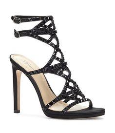 ffe62c52115 Black Imagine Vince Camuto Galvin Studded Satin Dress Sandals Stiletto  Pumps