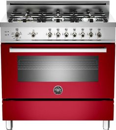 """Bertazzoni PRO366GASRO Professional Series  36"""" Pro-Style Gas Range with 6 Sealed Brass Burners, 4.4 cu. ft. Convection Oven, Manual Clean, Storage Compartment and Telescopic Glide Shelf - See more at: http://www.plessers.com/Bertazzoni/pro366gasro.htm #red #bertazzoni #cooking #kitchen #range"""