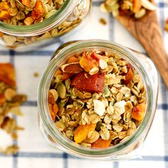 Easy and delicious ginger peach granola naturally sweetened with maple syrup.