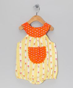 Take a look at this Yellow Daisy Seersucker Bubble Bodysuit - Infant by Beary Basics on #zulily today!
