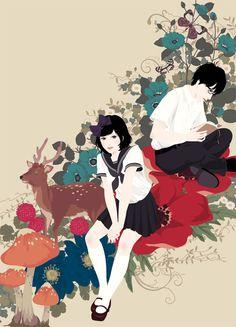 Book and Flower - 本と花 by Katogi Mari