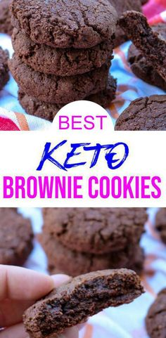 Tasty Keto Cookies you DO NOT want to pass up! Easy & simple keto recipe for the best chocolate cookies fudge brownie. Delicious homemade not Brownies Cétoniques, Brownies Caramel, Chocolate Brownie Cookies, Gluten Free Chocolate Cookies, Keto Cookies, Healthy Cookies, Healthy Desserts, Simple Keto Desserts, Low Sugar Cookies