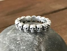 Sterling Silver Skull Ring, 925 Silver Skull Band, Men's Skull Eternity Oxidized 4MM Band by TheSilveryBoutique on Etsy