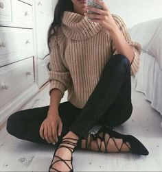 "fashionsensexoxo: "" Get this cute brown sweater right here ! """