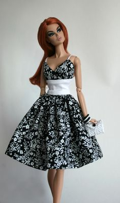 Sundress in black and white for Barbie by ChicBarbieDesigns