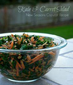 Kale & Carrot Salad - New Seasons Copycat Recipe   The Good Hearted Woman Carrot Salad, Fruit Salad, Homemade Dressing Recipe, Recipe Filing, Kale Recipes, Woman, Seasons, Salad Bar, Healthy Salads