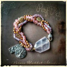Multi strand bracelet triple strand precious by BrassRabbitStudio