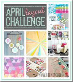 """HIP KIT CLUB - April Layout Challenge Mood Board...  It's """"Challenge Time"""" again!  Check out our Hip Kit Club April Layout Challenge Mood Board! Create a layout using our April Mood Board as your inspiration with any products you wish. Share a photo of your completed layout on our Facebook Timeline (https://www.facebook.com/scrapbookers?ref=hl ) by April 30th at 11:59pm PST, and you will be entered into a drawing to win a grab bag with awesome scrapbooking goodies."""