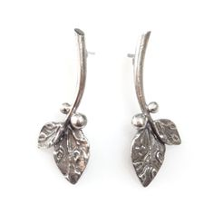 Vickie Hallmark | Twig - post leaf earrings,  sterling silver