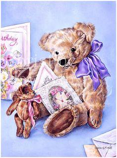 Meadow Cottage Bears : Birthday Bear © Copyright Christine Haworth Designs