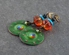 Gypsy Earrings Bohemian Chic Earrings Hippie Enameled Earrings