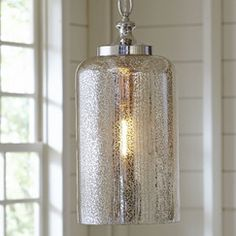 Bosworth Mini Pendant: kitchen sink wall, hang middle one lower? like a rod rather than a chain though...find a smaller size but like the mercury glass...